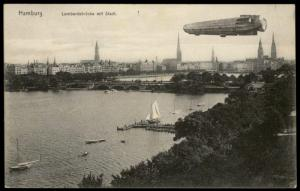 Germany Pioneer Zeppelin Airship In Flight Over Hamburg PPC 78666