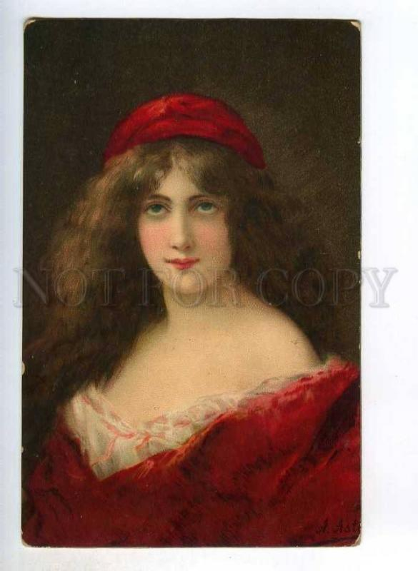 246581 Woman w/ Long Hair in RED by Angelo ASTI vintage PC