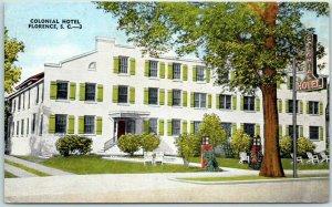 Florence, South Carolina Postcard COLONIAL HOTEL Street View KROPP Linen c1940s