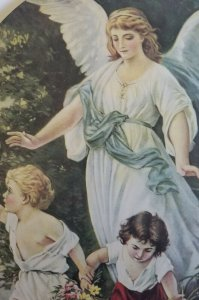 Babies & Their Guardian Angel Vintage Large Victorian Style 1920's Litho