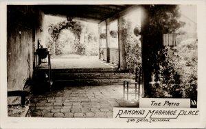 San Diego CA Ramona's Marriage Place The Patio Unused Grogan RPPC Postcard G37