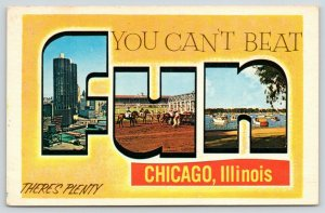 Chicago IL~Large Letter Chrome FUN Postcard~Lake~Horse Race~Hello Dolly!~1966