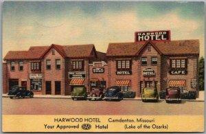 Camdenton, Missouri Postcard HARWOOD HOTEL Street View MWM Linen 1945 Cancel