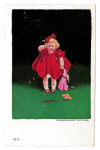 Feeling Crying Girl w Broken Headless Doll 1906 Postcard