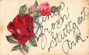 Stuttgart Arkansas Rose Greeting Antique Postcard K88373