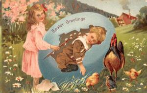 Easter Greetings Child Couple Large Egg Rooster Chicks Antique Postcard K80615