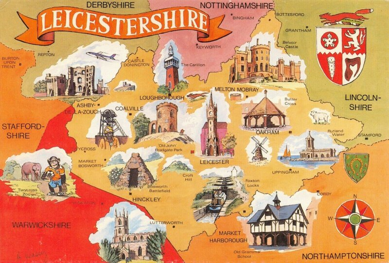 Map Postcard of LEICESTERSHIRE Leicester, Loughborough, Coalville, Hinkley AU4