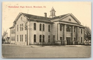 Morrison Illinois~Remodeled High School~Bare Trees~Houses in Distance~1913