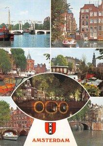 B108767 Netherlands Amsterdam River Bridge Pont Bateau Church