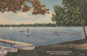 Indiana Lake Webster Epwworth Forest Bathing Beach 1953 Curteich