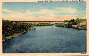 Maine Augusta The Augusta Toll Bridge Over Kennebec River Curteich