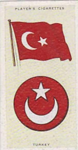 Player Vintage Cigarette Card National Flags &amp  Arms No 44 Turkey  1936
