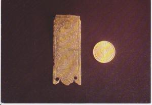 MEDIEVAL BRONZE STRAP END FROM WOUGHTON VILLAGE EXCAVATION