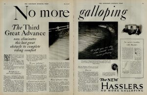 1927 Hasslers No More Galloping Car Vintage Print Ad 3933