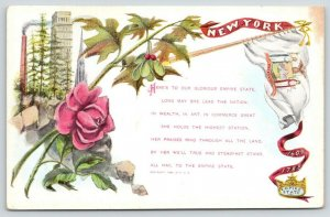 New York City~Skyscraper~All Hail Empire State~Poem~Pennant~Art Nouveau~1909 PCK