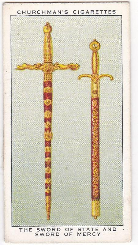 Cigarette Card Churchman THE KING'S CORONATION No 32 Sword of State & Mercy
