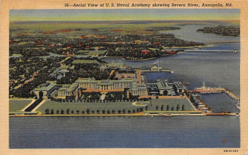Md. Annapolis, Aerial View of U.S. Naval Academy showing Severn River
