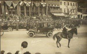 Washington DC??? William Jennings Bryan Car Parade c1910 Real Photo Postcard