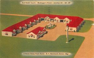 In Muskogee Oklahoma~Hammock Red Gable Courts~1940s Roadside Linen