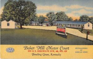 Bowling Green Kentucky Baker Hill Motor Court Antique Postcard J52856