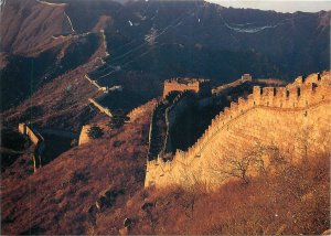 Postcard China the great wall at mutianyu in sunset architecture tower art