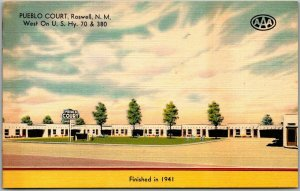 Roswell, New Mexico Postcard PUEBLO COURT Highway 70 Roadside MWM Linen c1950s