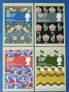 Set of 4 PHQ Stamp Postcard Set No.61 British Textiles 1982 BX8