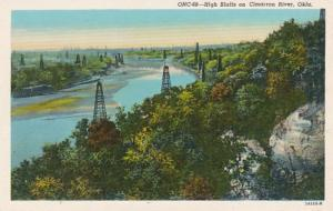 Oklahoma Oil Wells On High Bluffs On Cimarron River Curteich