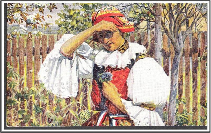 Czechoslovakia Pretty Girl Postcard