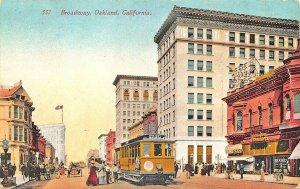 Oakland CA Broadway Storefronts Trolley 1913 Postcard