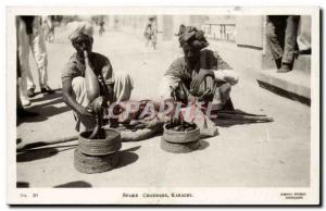 Pakistan - Karachi - Snake Charmers - snake Old Postcard