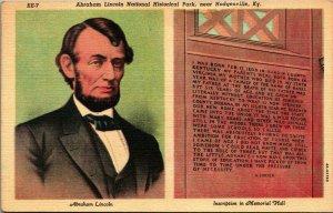 Lincoln Inscription in Memorial Hall Hodgenville KY Vtg Linen Postcard