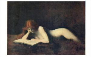 J.J. Henner La liseuse The reader  Nude woman reading a early porn maga...