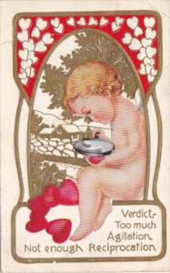 Valentine's Day With Cupid Examining Heart With Magnifying Glass 1914