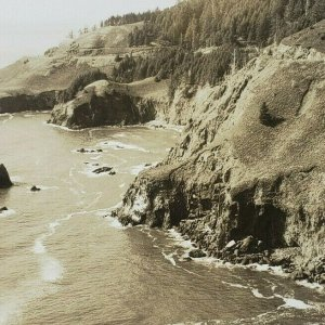 Oregon Coast North from Lookout Cape Foulweather Ocean RPPC Photo Postcard F138