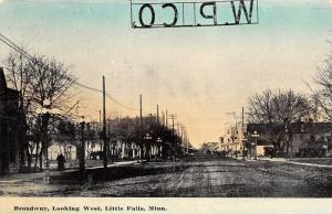Little Falls Minnesota~Broadway Looking West~WP Co~Homes to Downtown~1908 PC
