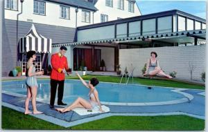 Eureka, California Postcard EUREKA INN Girls at the Pool w/ Waiter 1960s UNUSED