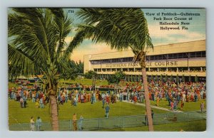 Hollywood FL, View Of Paddock Gulfstream Park Race Course Linen Florida Postcard
