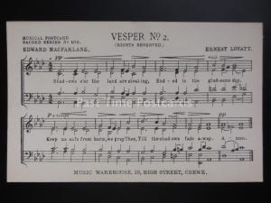 Musical Postcard VESPER No.2 by Ernest Lovatt / Macfarlane MUSIC WAREHOUSE Crewe