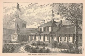 1876 Victorian Post Hospital United States Army Engraving 2T1-57