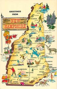 Greetings from New Hampshire NH Map Card