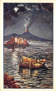 Volcano Post Card Erupting Volcano Naples, Italy Unused