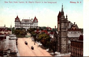 New York Albany State Capitol With St Peter's Church In Foreground 1907