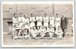 Evanston Illinois~Northwestern University~Track Team~Pole Vault~c1914 RPPC