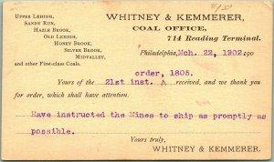 1902 Philadelphia PA Business Postcard WHITNEY & KEMMERER COAL OFFICE Receipt