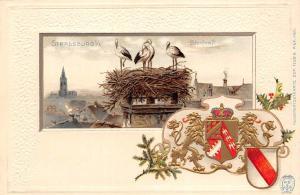 Heraldic postcard France Strassbourg embossed coat of arms