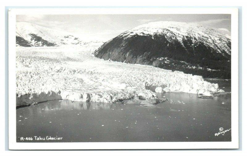 Postcard Aerial of Taku Glacier, Alaska AK RPPC AJ11