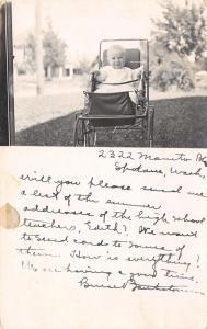 Spokane WA Baby in Stroller @ 2322 S Manito Boulevard~RPPC 1914