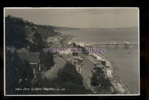 h2154 - Isle of Wight - Shanklin Bay & Pier view from Rylstone c1937 - postcard