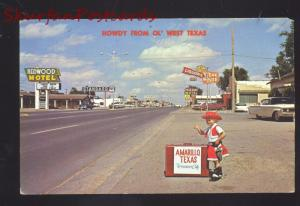 AMARILLO TEXAS ROUTE 66 1960's CARS STREET SCENE VINTAGE OLD POSTCARD